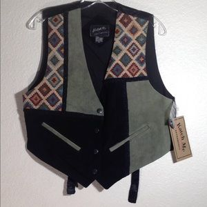 Ladies' NWT KatchMe Tapestry Suede Leather Vest(M)